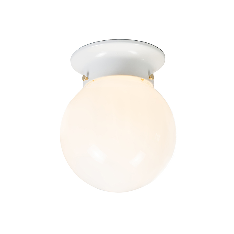Retro plafondlamp wit opaal glas - Scoop