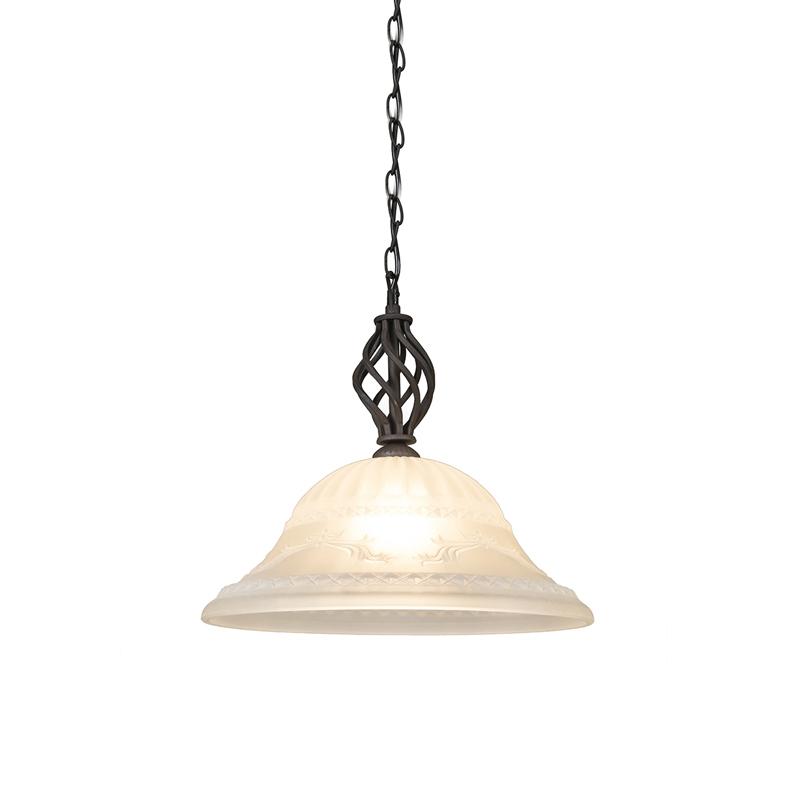 Landelijke hanglamp roestkleur met glas - Elegant 1