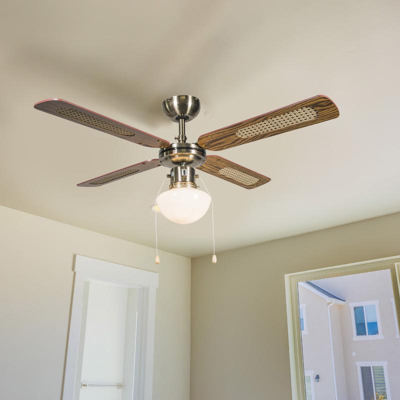 Industriële Plafondventilator Met Lamp 100 Cm Hout - Wind