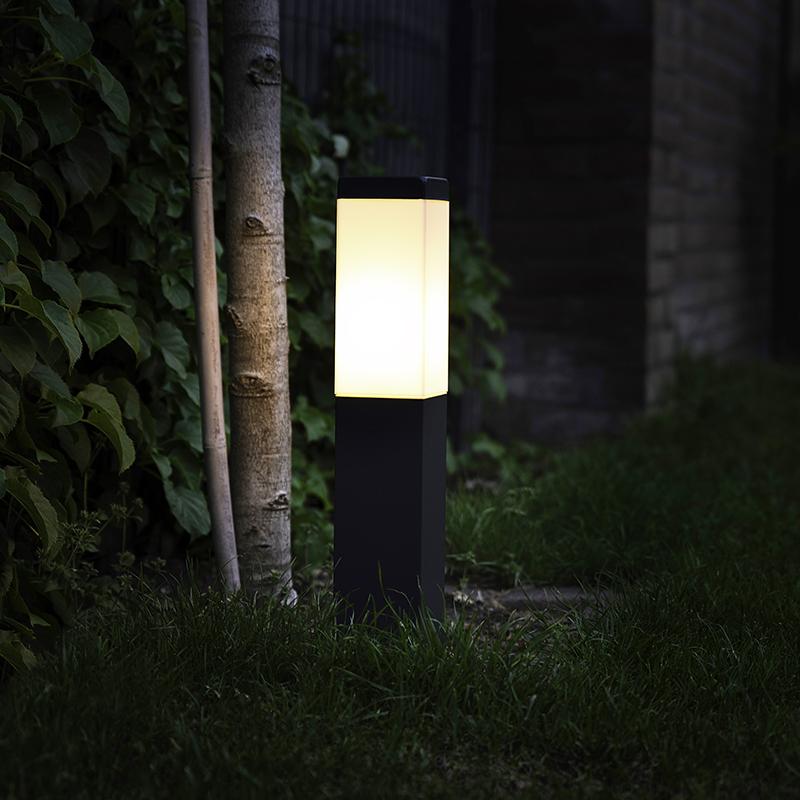 Moderne buitenlamp paal donkergrijs 45 cm IP44 - Malios