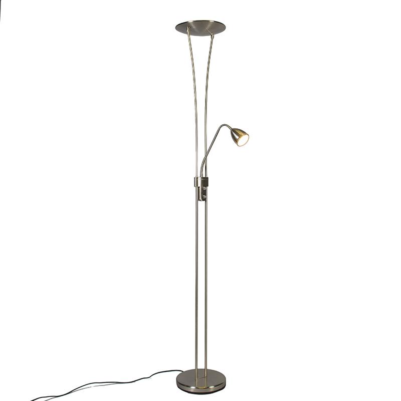 Uplighter Jazz 2 met leeslamp LED staal
