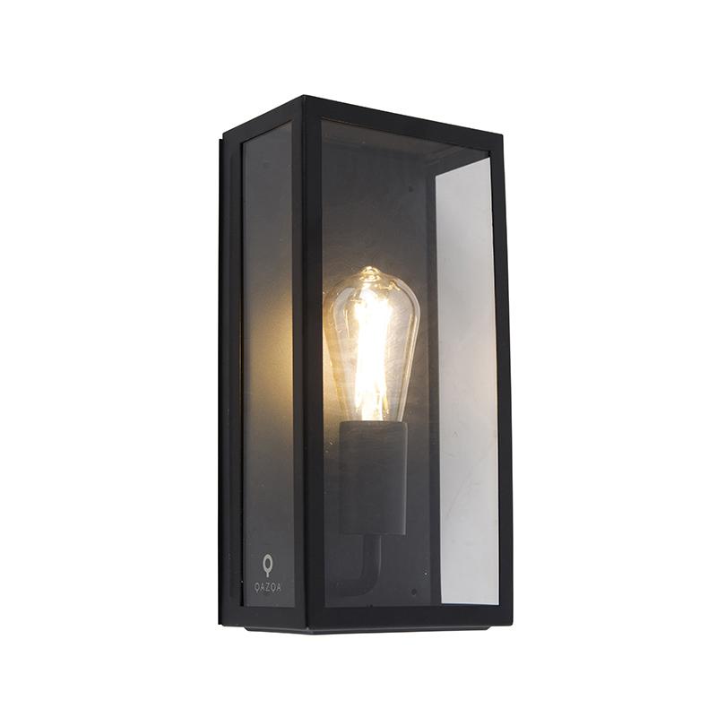 Industriële buiten wandlamp zwart IP44 met glas - Rotterdam