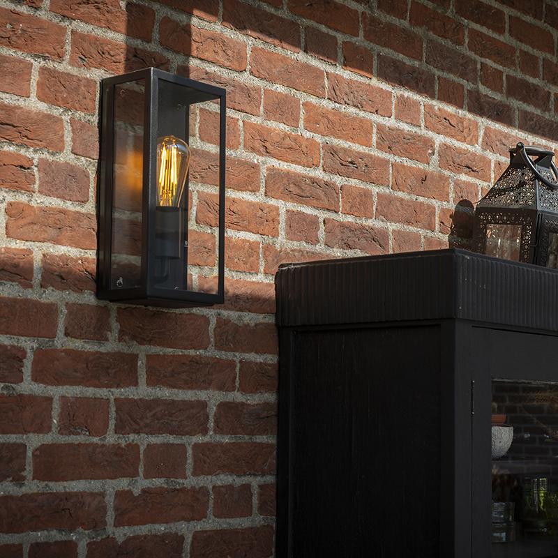 Moderne rechthoekige buitenwandlamp zwart met glas - Rotterdam 1