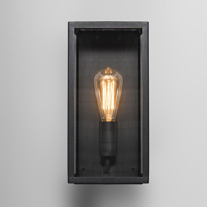 Moderne rechthoekige buitenwandlamp zwart met glas – Rotterdam 1