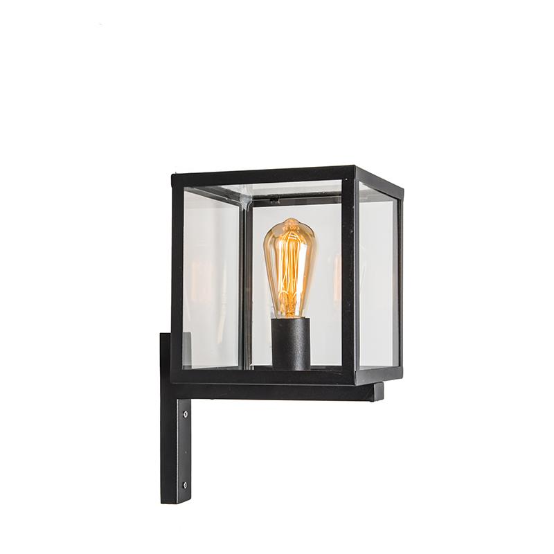 Moderne vierkante buitenwandlamp zwart - Rotterdam