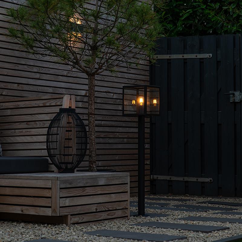 Moderne buitenlamp paal zwart 100 cm - Rotterdam