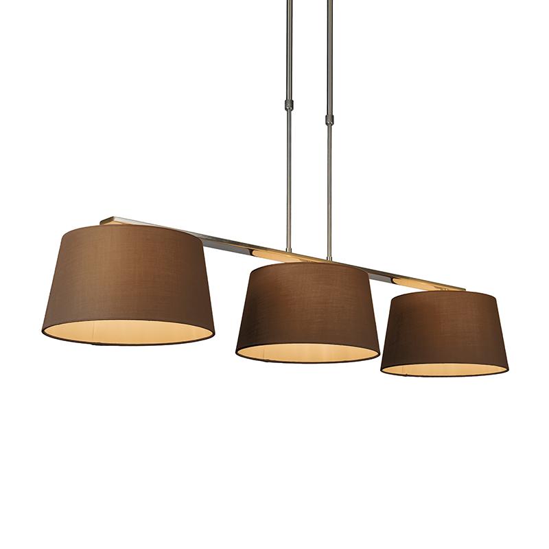Hanglamp Combi Delux 3 kap rond 30cm bruin