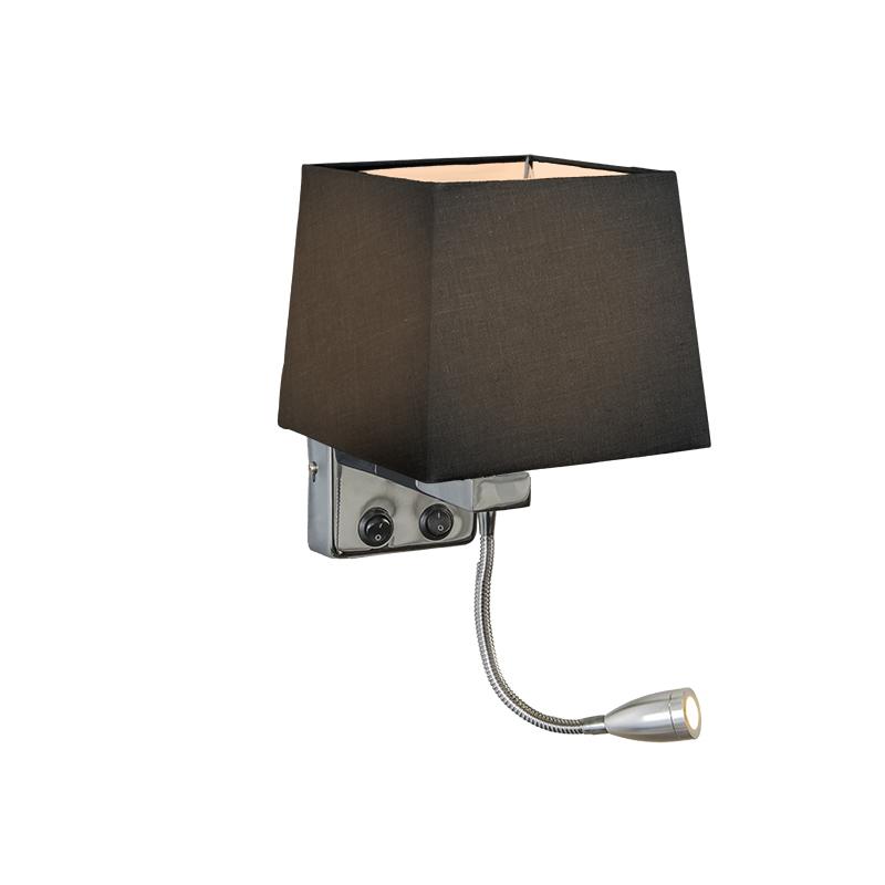 Wandlamp Brescia chroom met kap vierkant zwart