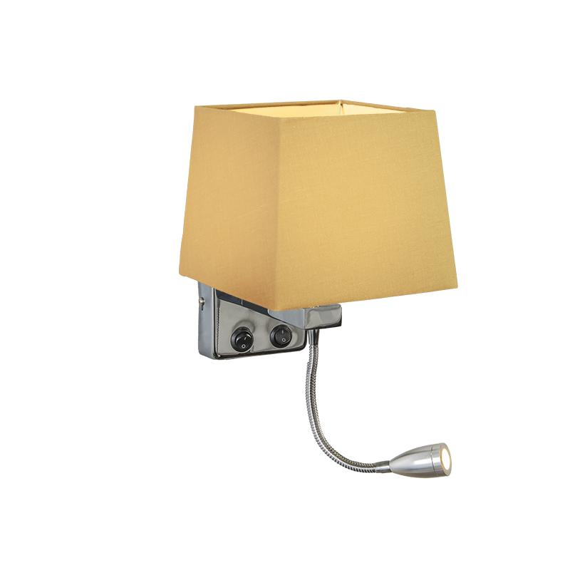 Wandlamp Brescia chroom met kap vierkant beige