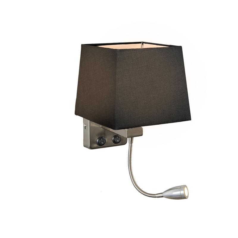 Wandlamp Brescia staal met kap vierkant zwart