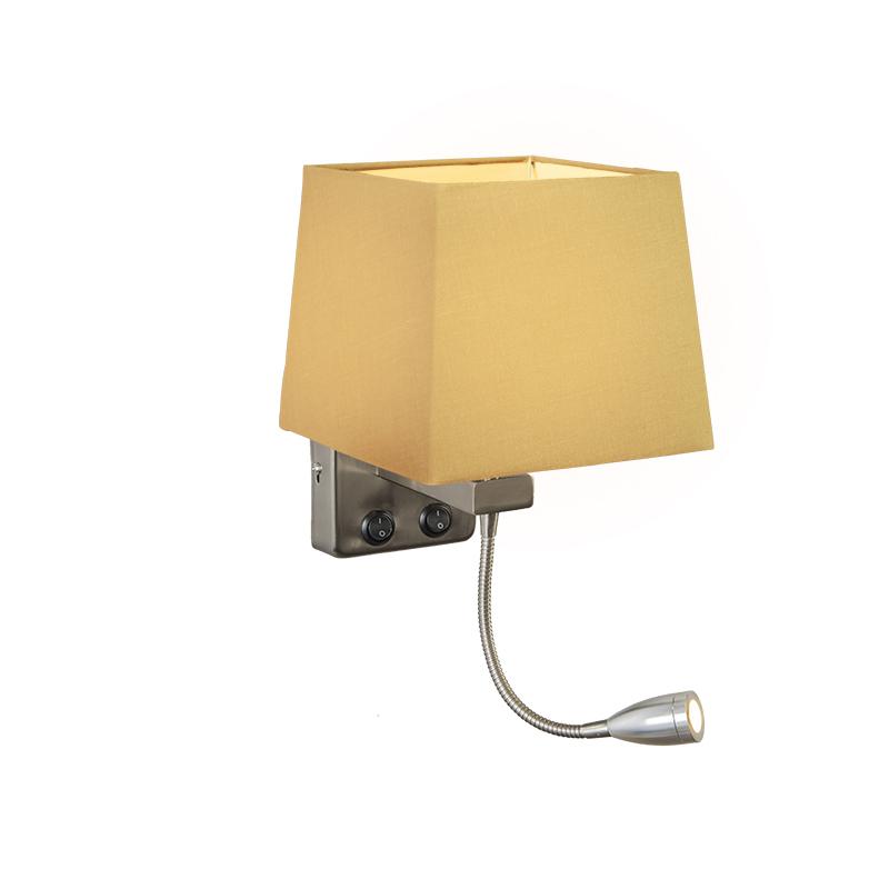 Wandlamp Brescia staal met kap vierkant beige