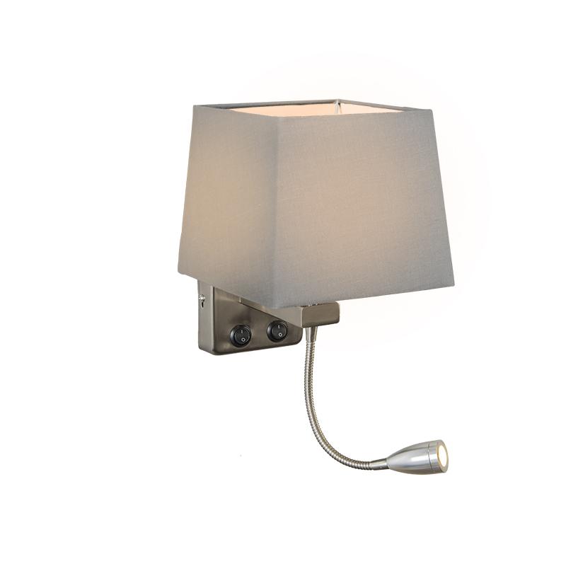 Wandlamp Brescia staal met kap vierkant grijs