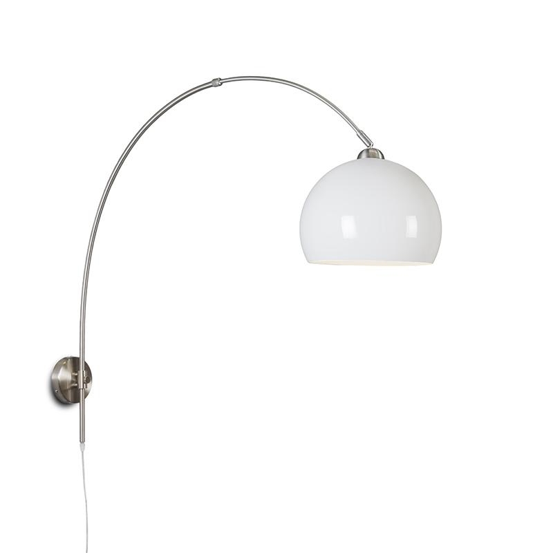 Retro wandbooglamp staal met witte kap verstelbaar