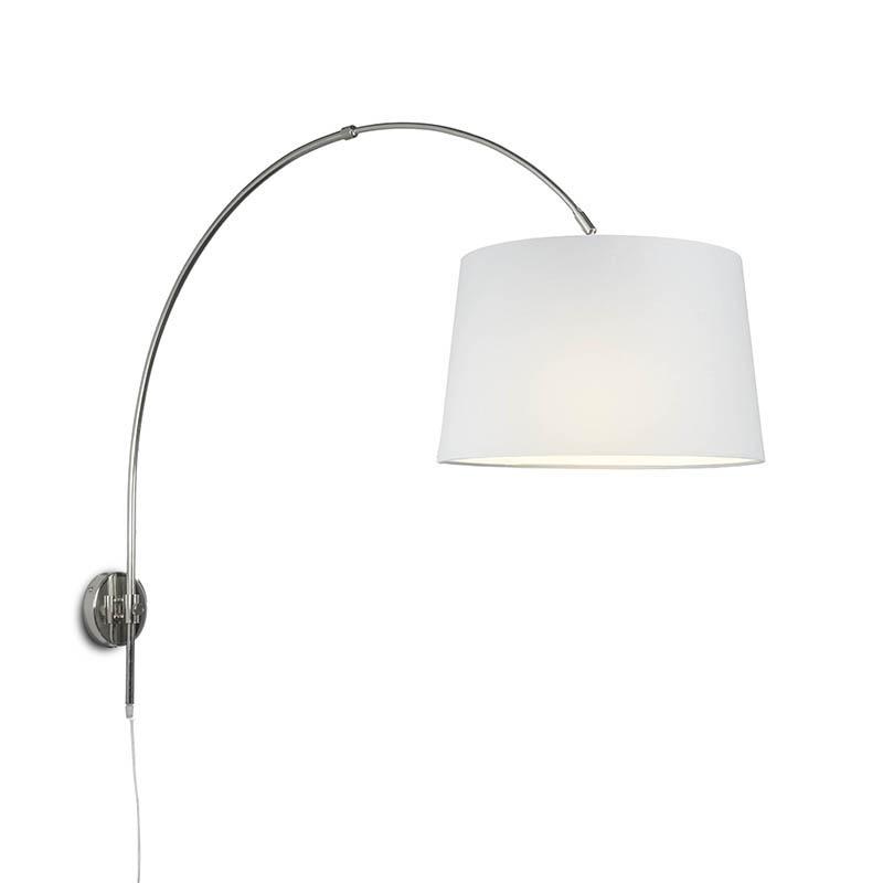 Wandbooglamp chroom met kap 40cm wit