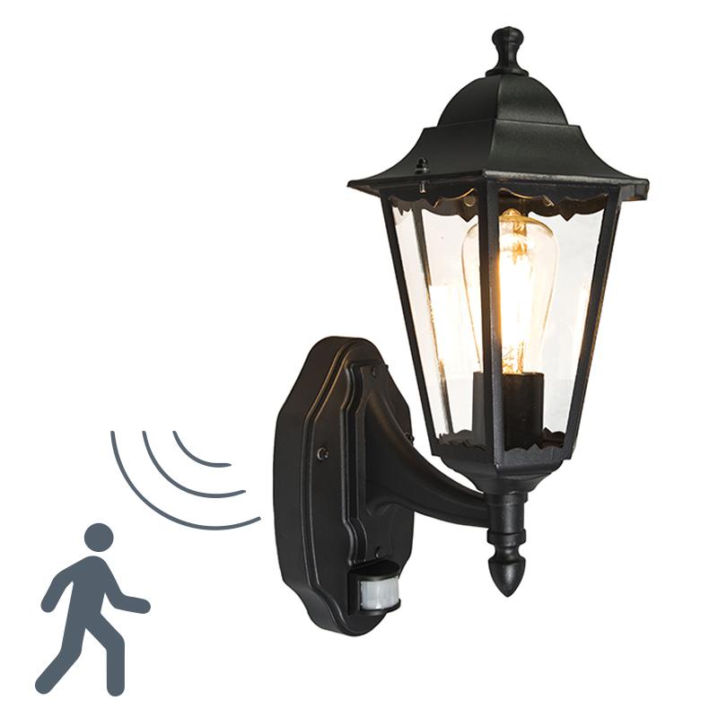 Buitenlamp New Orleans up zwart met bewegingsmelder