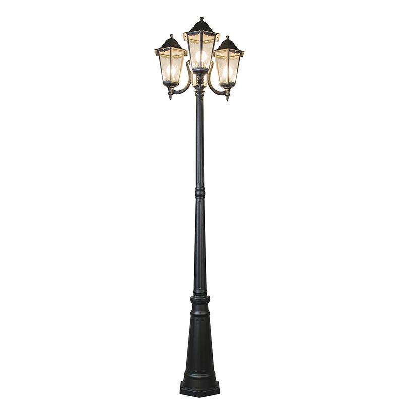 Landelijke buitenlamp zwart paal IP44 - New Orleans 3