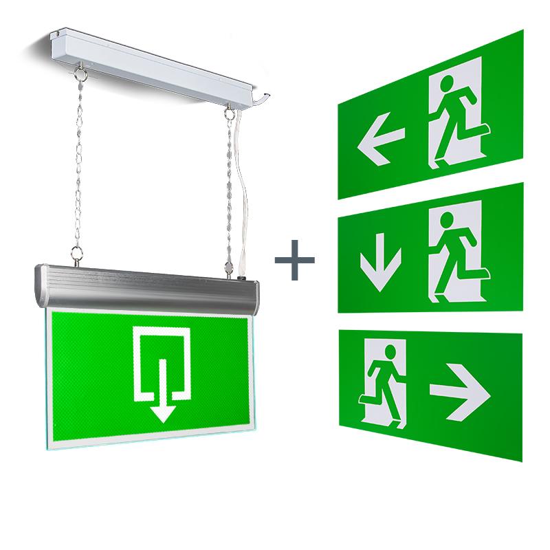 Moderne rechthoekige hanglamp nooduitgang incl. LED - Emergency