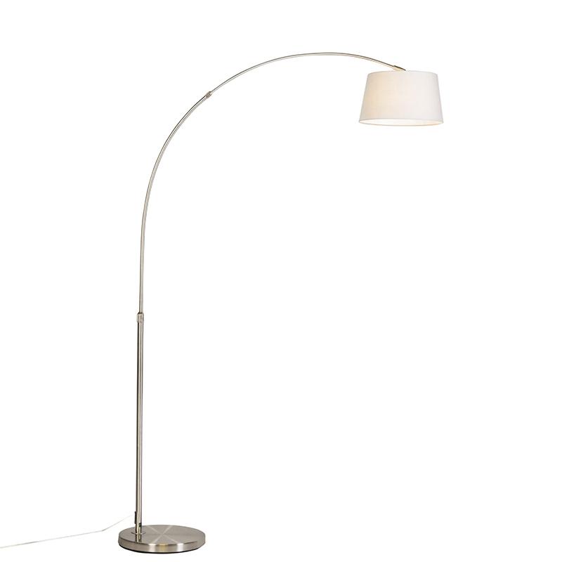 Moderne booglamp staal met witte stoffen kap - Arc Basic