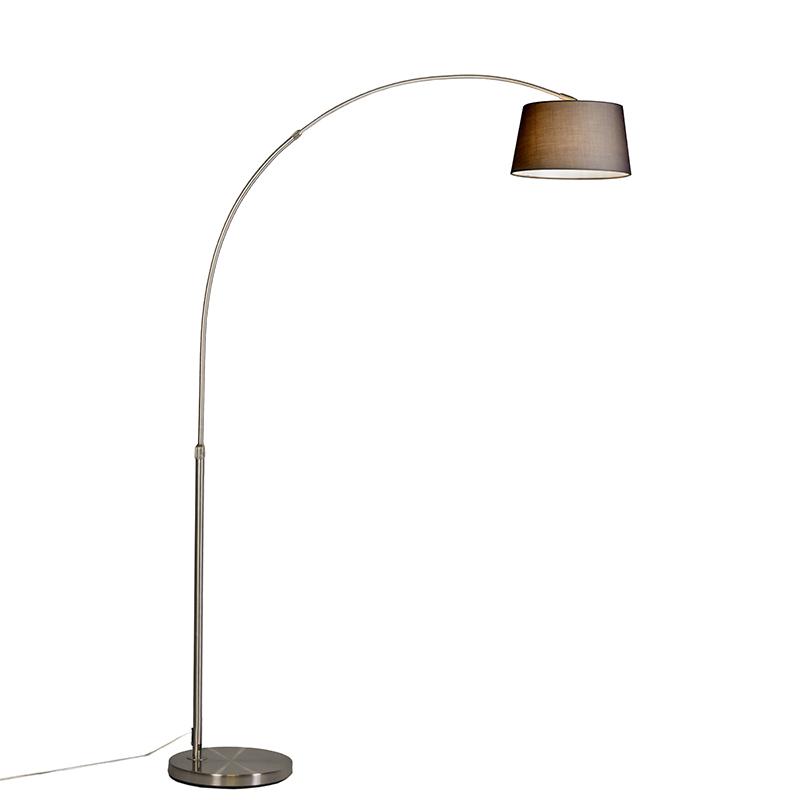 Bilde av Arc Lamp Basic Steel with Black Fabric Shade