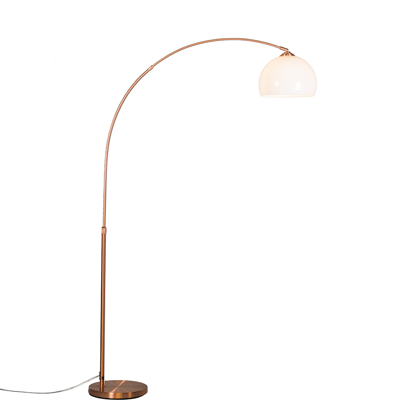 Moderne booglamp koper met witte kap - Arc Basic
