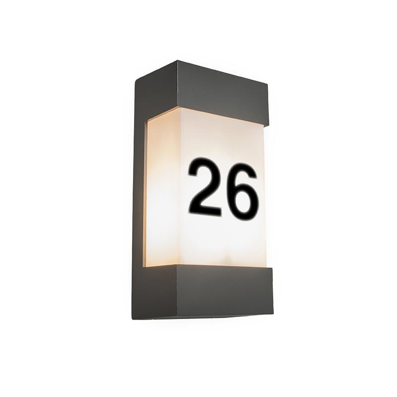 Buitenwandlamp antraciet met huisnummer IP54 - Tide V