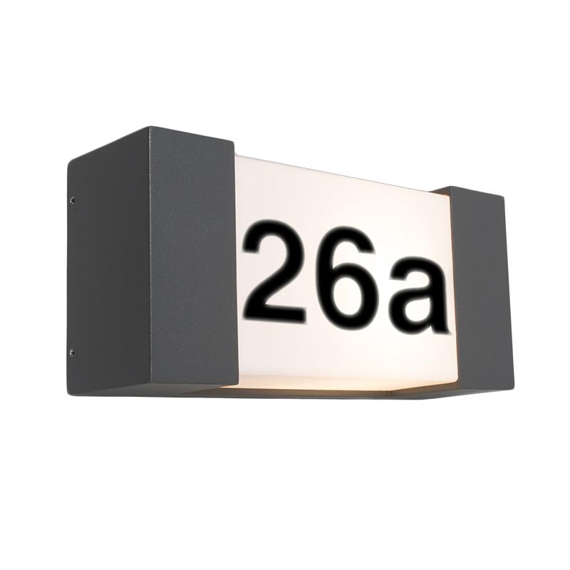 Buitenwandlamp antraciet met huisnummer IP54 - Tide H