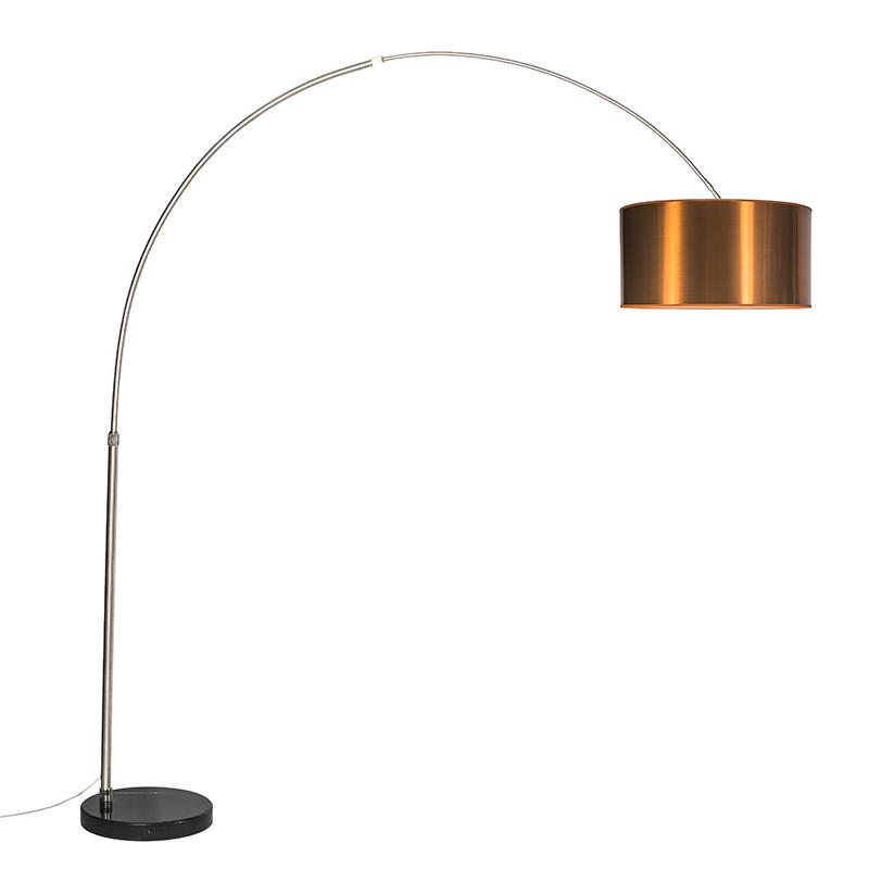 Moderne booglamp staal met kap koper 50cm - XXL