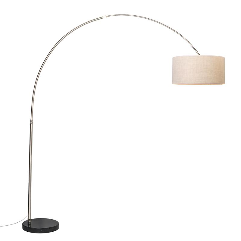 Zwarte booglamp met cr�me kap recht 50 cm - XXL