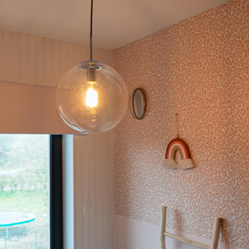 Scandinavische hanglamp chroom met helder glas - Ball 30