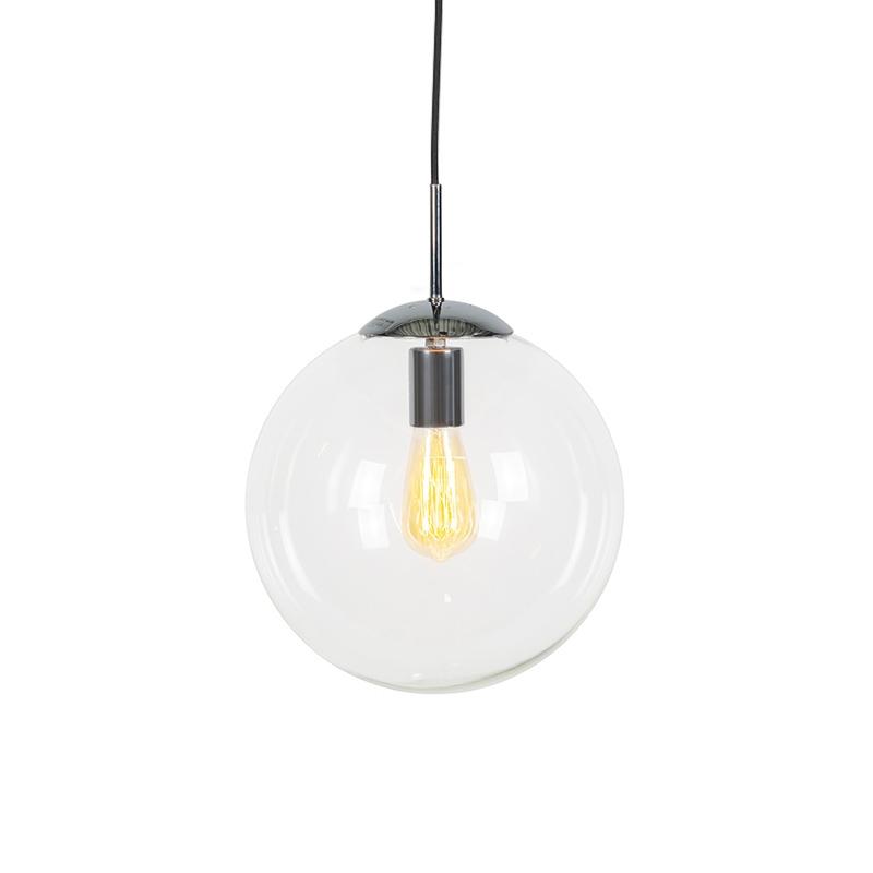 Lampa wisząca chrom przezroczyste szkło 30cm - Ball