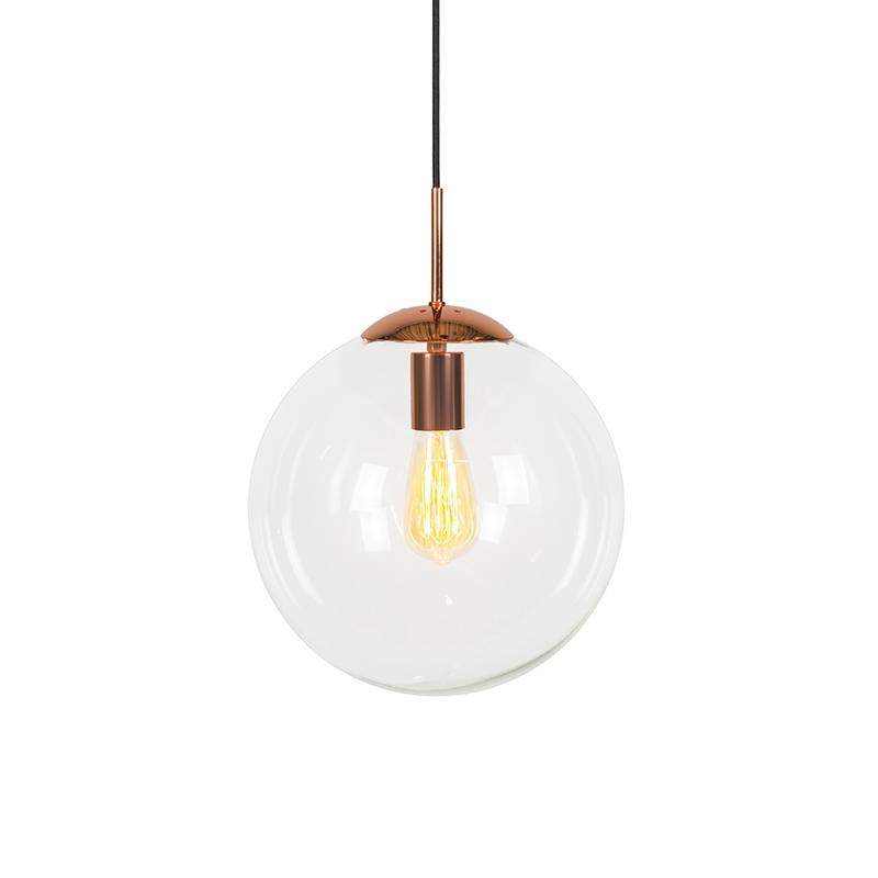 Art deco hanglamp koper met helder glas 30 cm - Ball 30