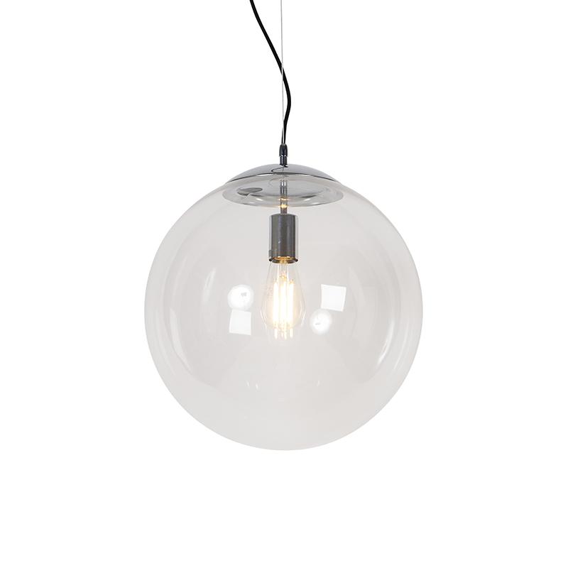 Scandinavische hanglamp chroom met helder glas - Ball 40