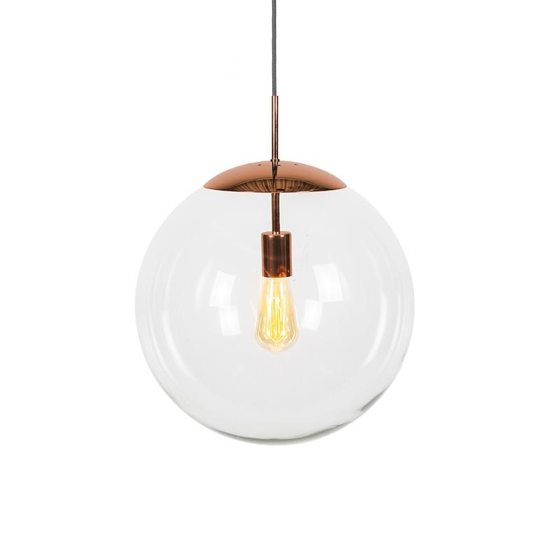 Scandinavische hanglamp koper met helder glas - Ball 40