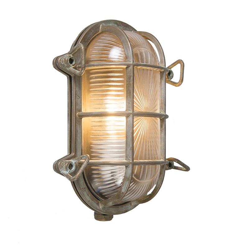 Retro wandlamp bruin 23 cm IP44 - Nautica 1 ovaal