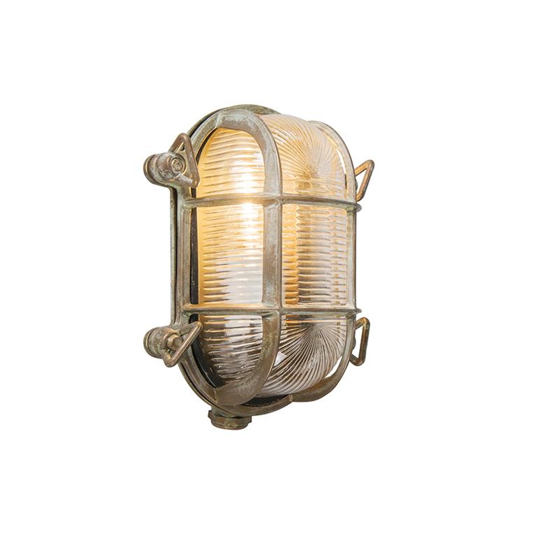Retro wandlamp bruin 18 cm IP44 - Nautica 2 ovaal