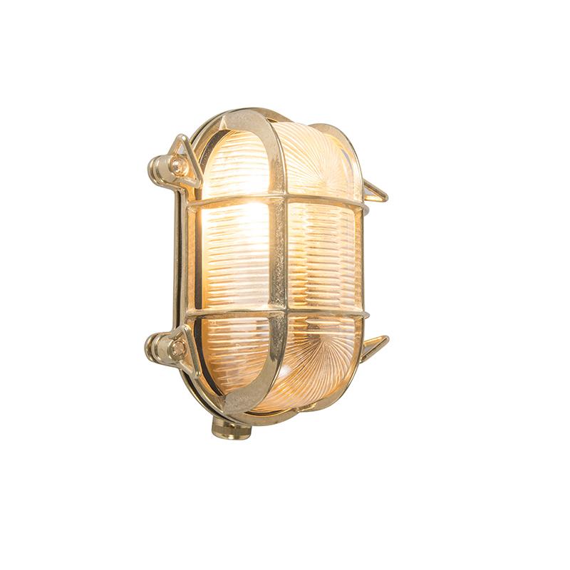 Kinkiet/ Plafon owalny złoty 18/14cm IP44 - Nautica 2