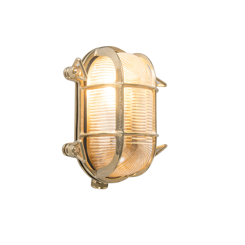 Retro wandlamp goud 18 cm IP44 - Nautica 2 ovaal