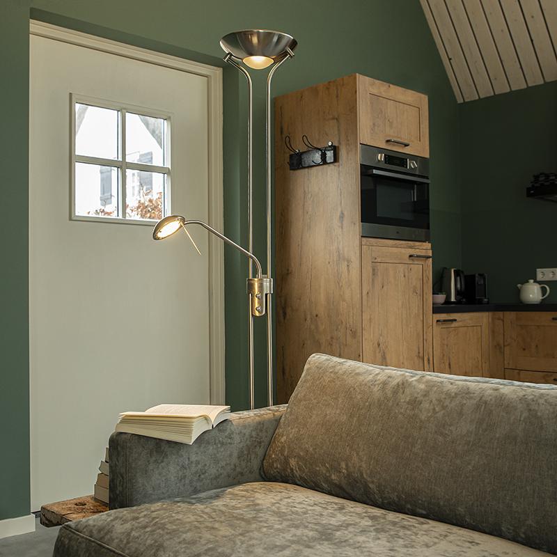 Vloerlamp staal met leeslamp incl. LED en dimmer - Diva 2