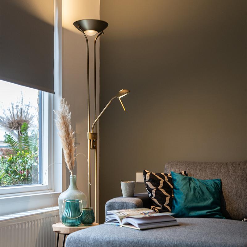 Vloerlamp brons met leeslamp incl. LED en dimmer - Diva 2