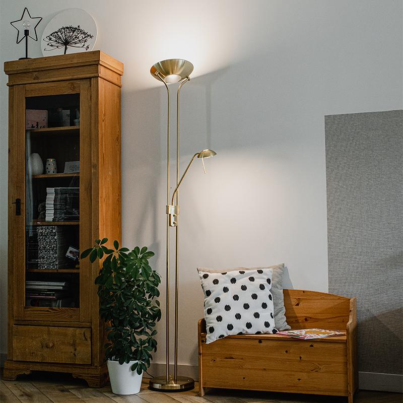 Vloerlamp goud met leeslamp incl. LED en dimmer - Diva 2