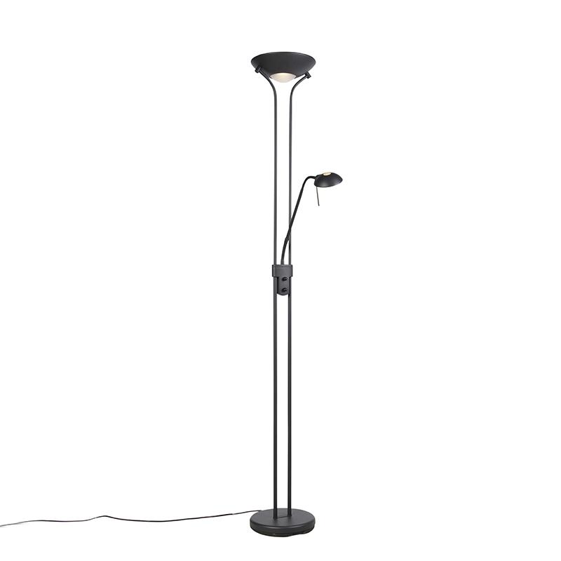 Lampa stojąca czarna z lampką do czytania, w tym LED i ściemniacz - Diva 2