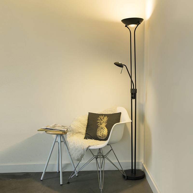 Vloerlamp zwart met leeslamp incl. LED en dimmer - Diva 2