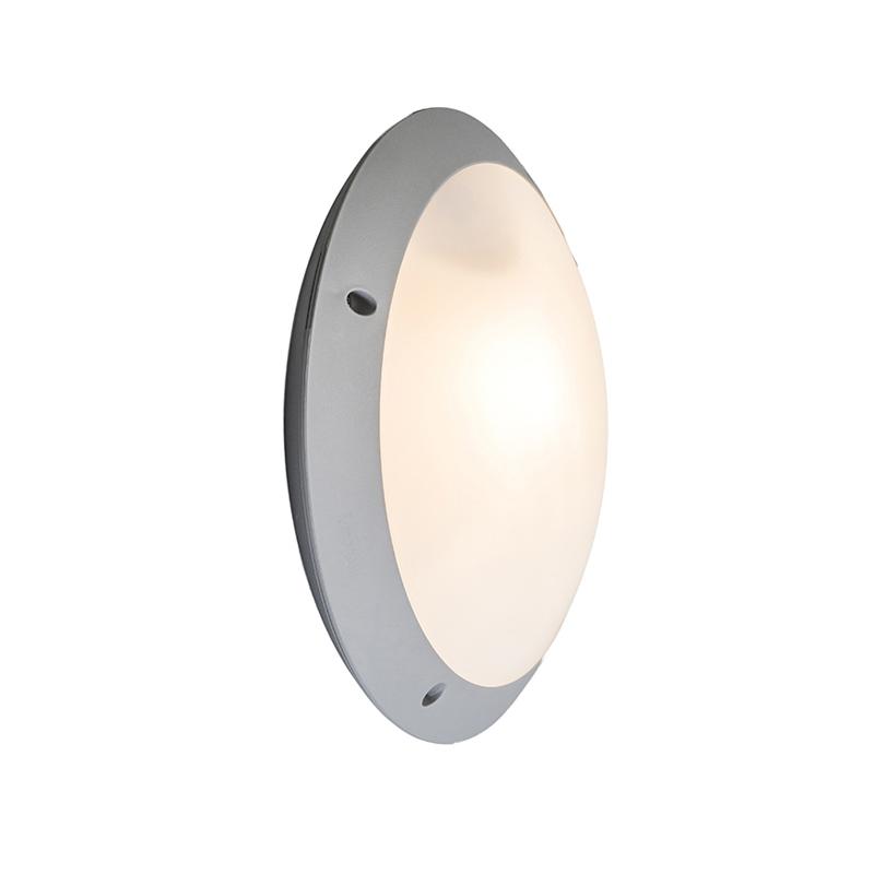 Moderne ronde buitenwand- en plafondlamp grijs met rond glas - Lucia