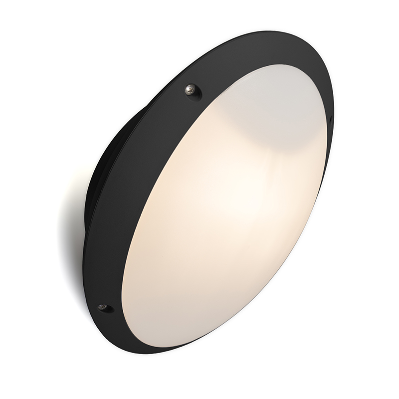 Moderne ronde buitenwandlamp zwart met glas - Remi