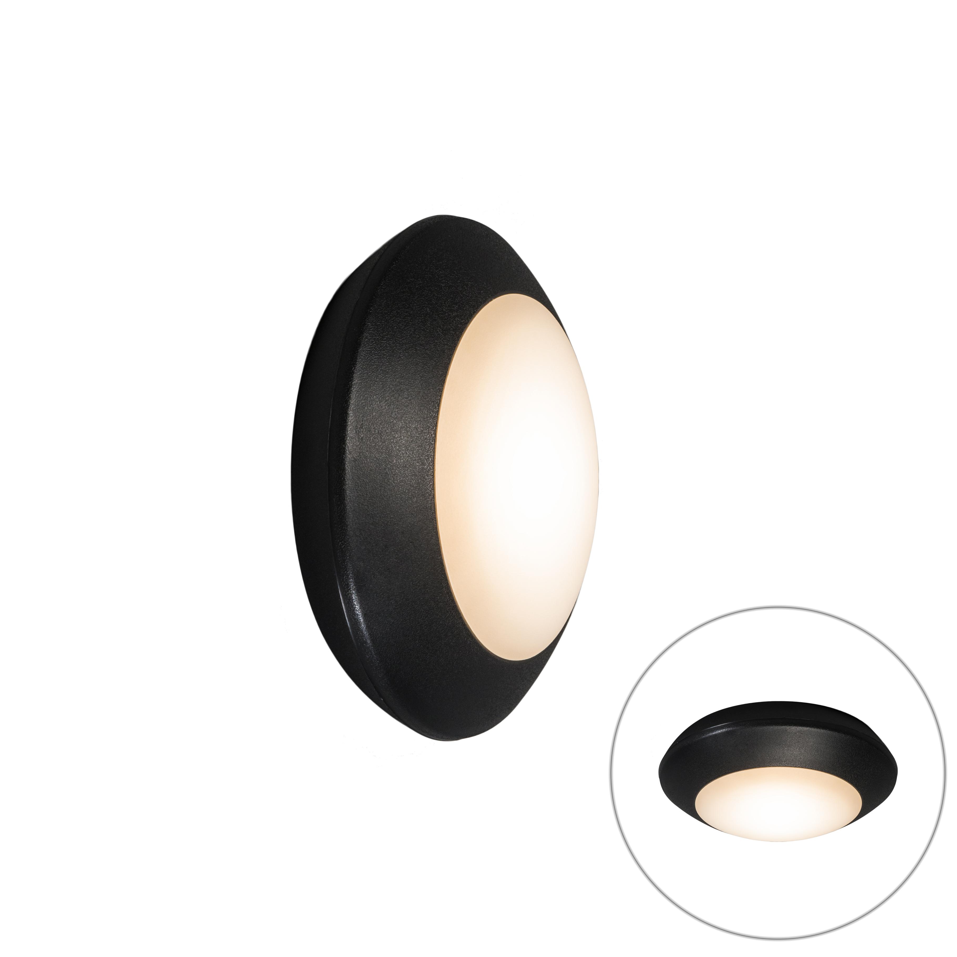 Wand- en plafondlamp Bertina rond zwart