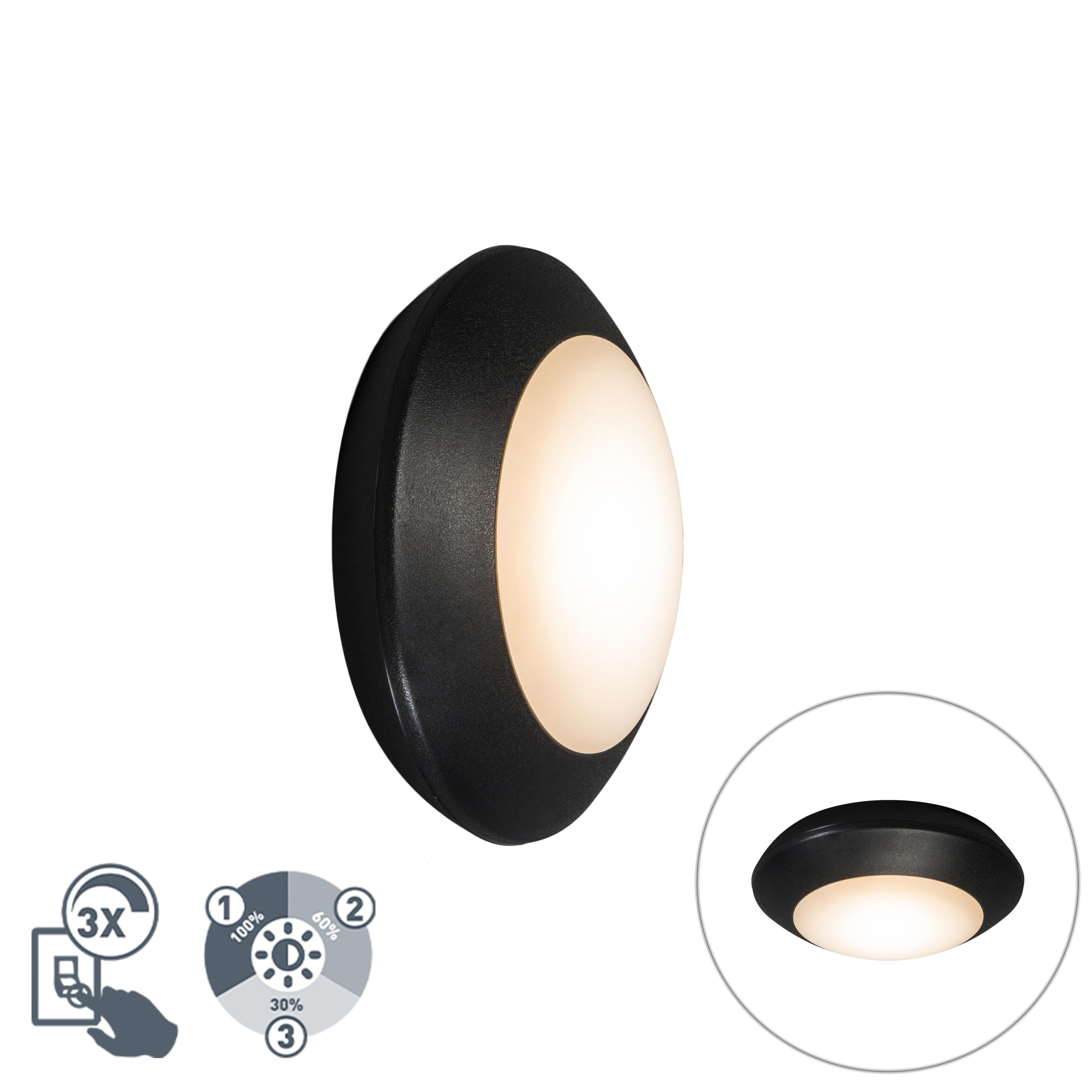 Moderne plafondlamp zwart IP65 - Bertina