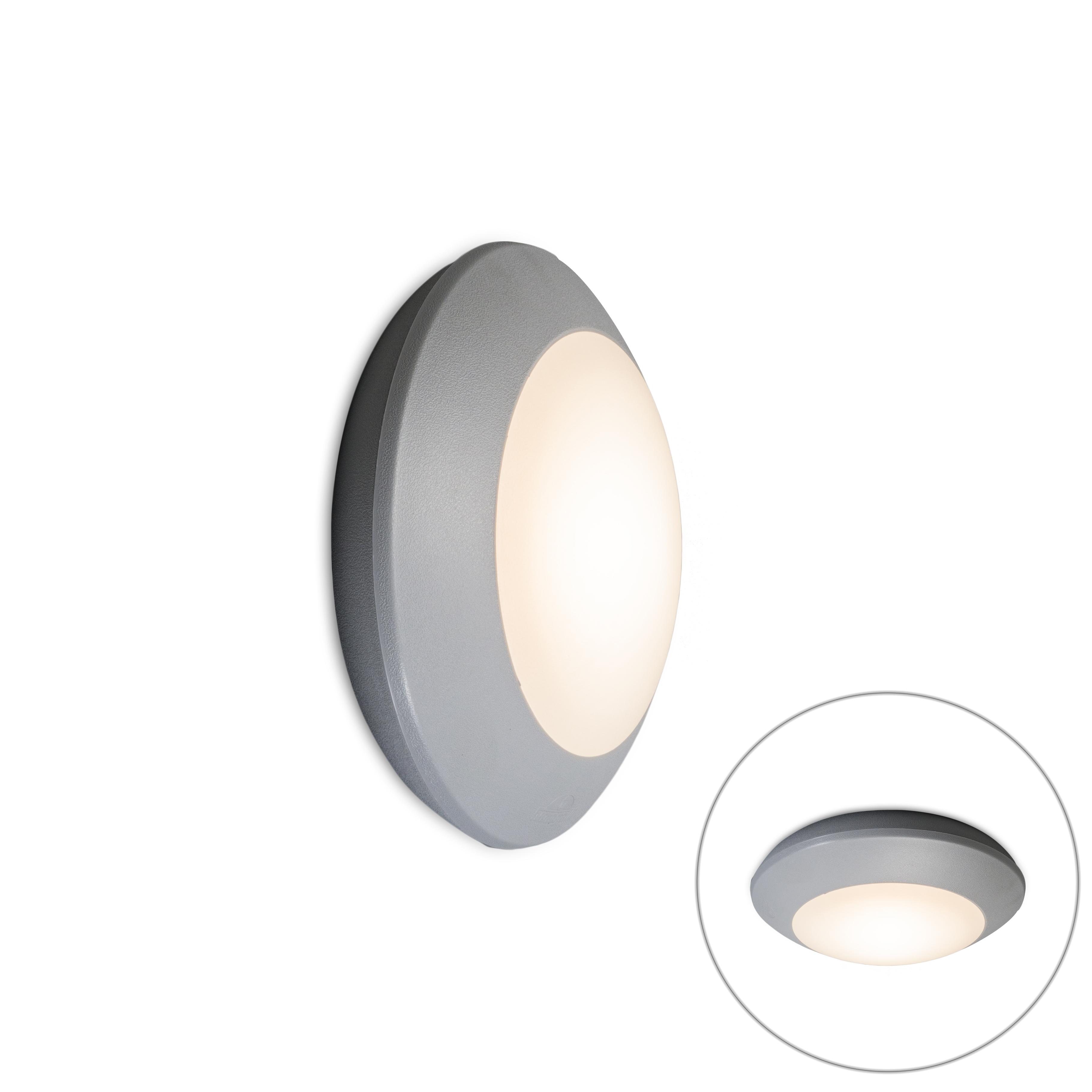Moderne ronde buitenwand- en plafondlamp grijs met glas - Bertina
