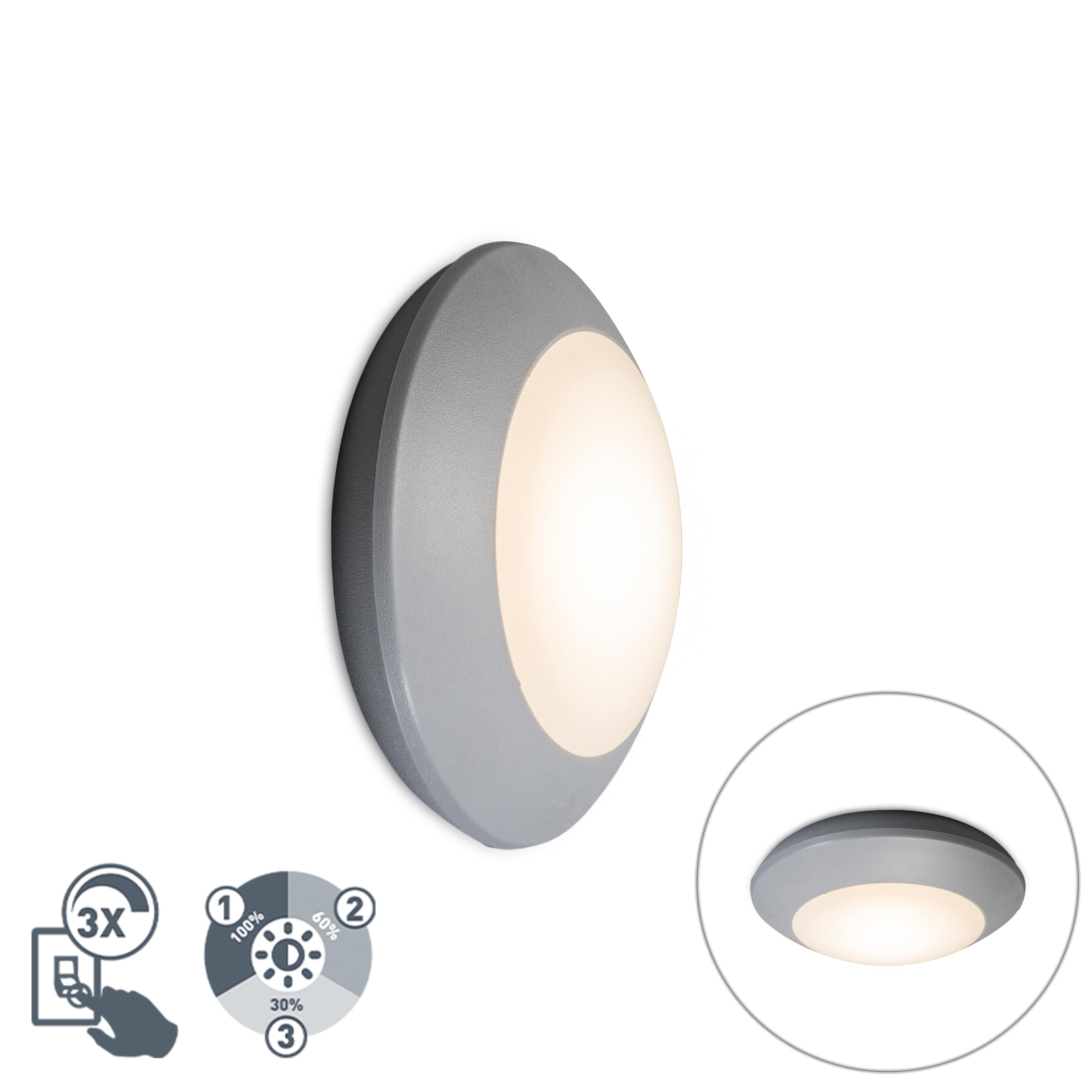 Moderne plafondlamp grijs IP65 - Bertina