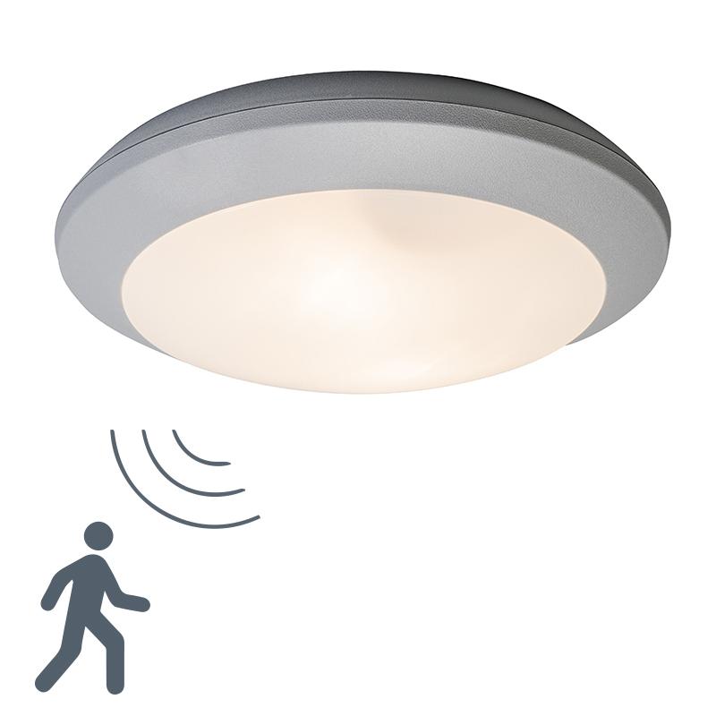Moderne ronde buitenplafondlamp grijs met glas en bewegingsmelder - Bertina