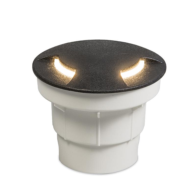 Moderne ronde buitengrondspot zwart met indirect licht - Ceci